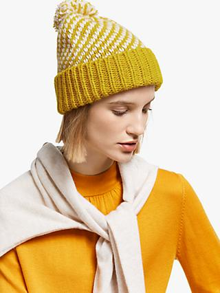 John Lewis & Partners Birds Eye Stitch Beanie, Ochre Mix