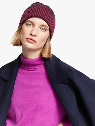 John Lewis & Partners Colour Block Plaited Rib Knit Beanie, Pink Mix