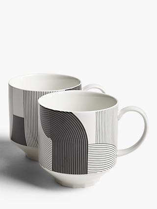 John Lewis & Partners Fine China Mugs, Set of 2, Black/White, 400ml