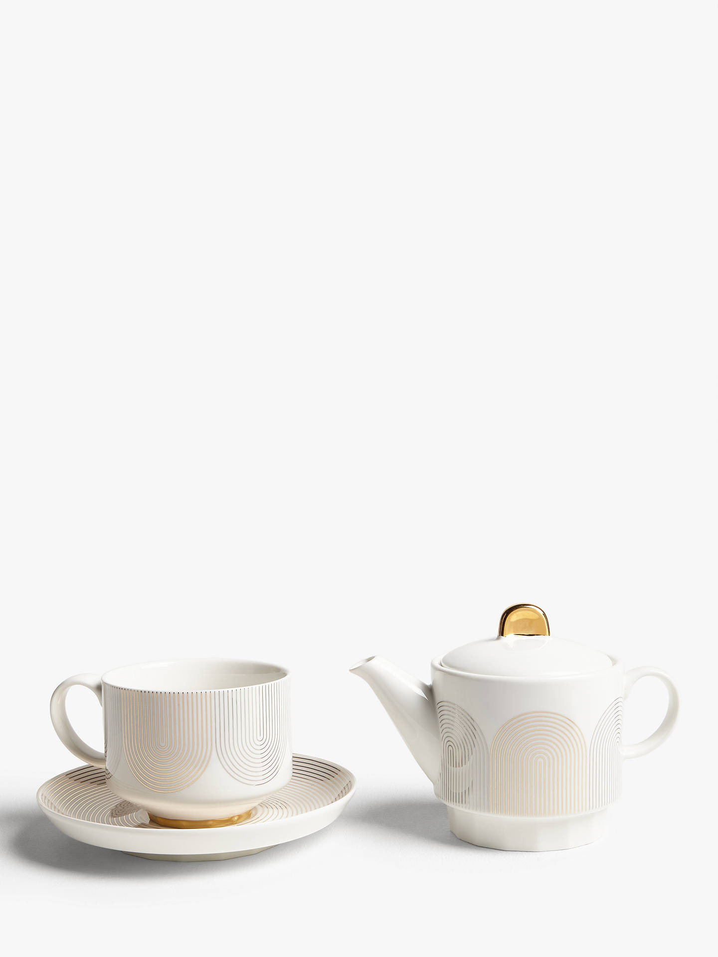 John Lewis & Partners Fine China Tea For One Teapot, Cup & Saucer, Gold/White, 330ml by John Lewis & Partners