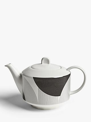 John Lewis & Partners Fine China Teapot, Black/White, 1.1L