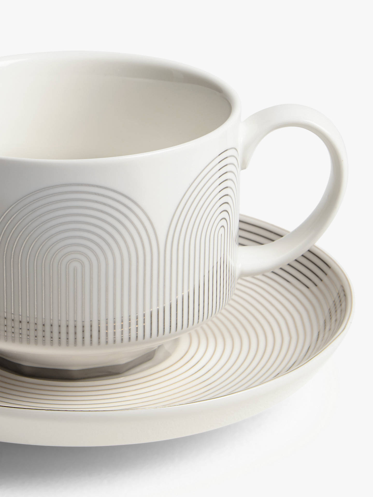 Buy John Lewis & Partners Fine China Cup & Saucer, Set of 2, Gold/White, 275ml Online at johnlewis.com