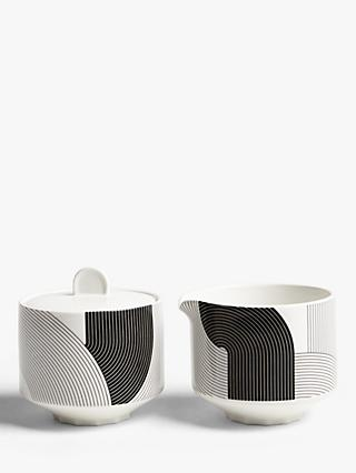 John Lewis & Partners Fine China Sugar & Creamer, Black/White