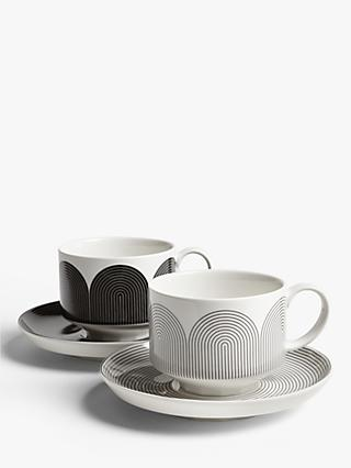 John Lewis & Partners Fine China Cup & Saucer, Set of 2, Black/White, 275ml