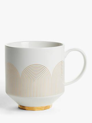 John Lewis & Partners Fine China Mug, 400ml, Gold/White