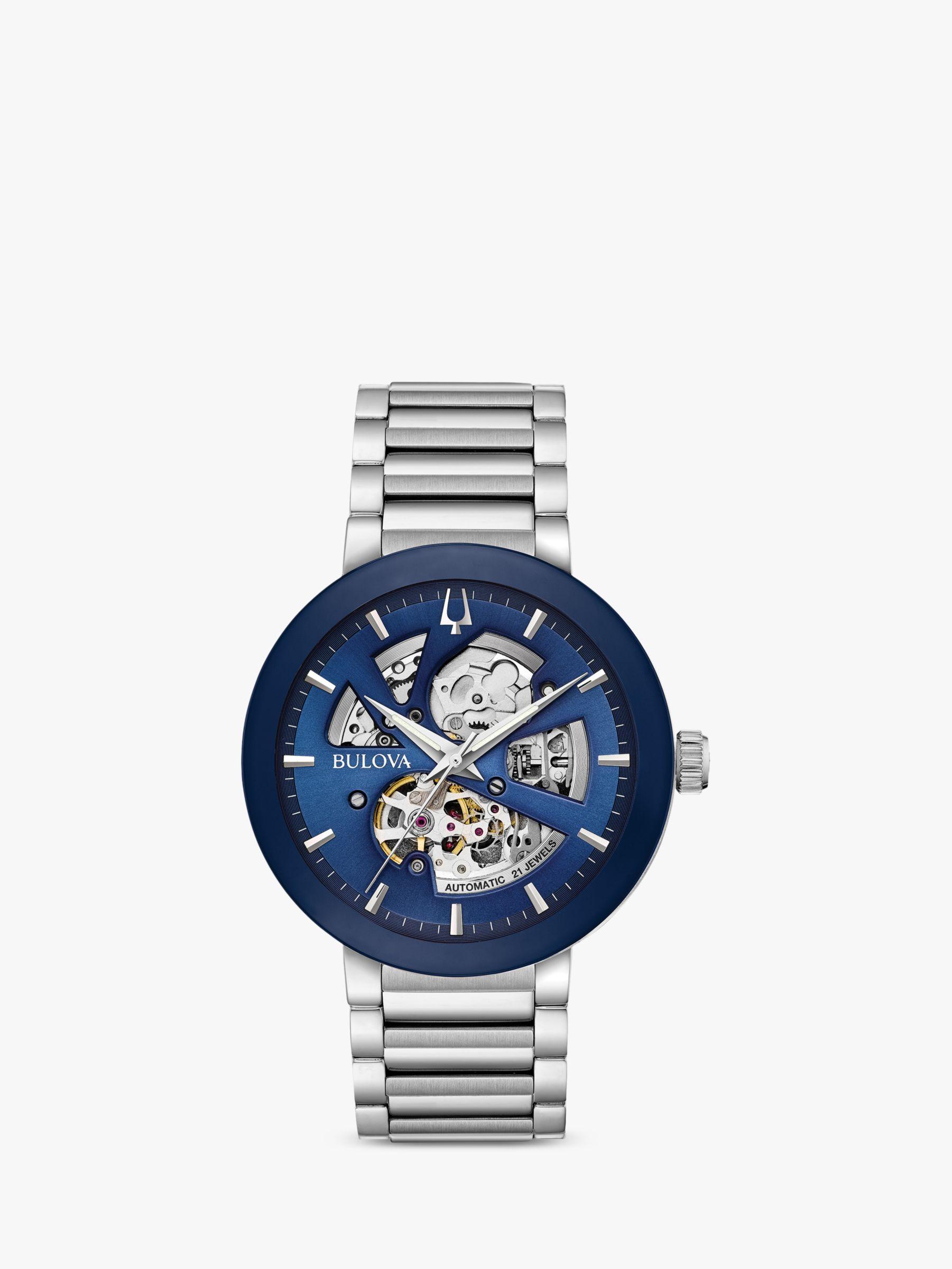 Bulova Bulova 96A204 Men's Modern Automatic Skeleton Bracelet Strap Watch, Silver/Blue