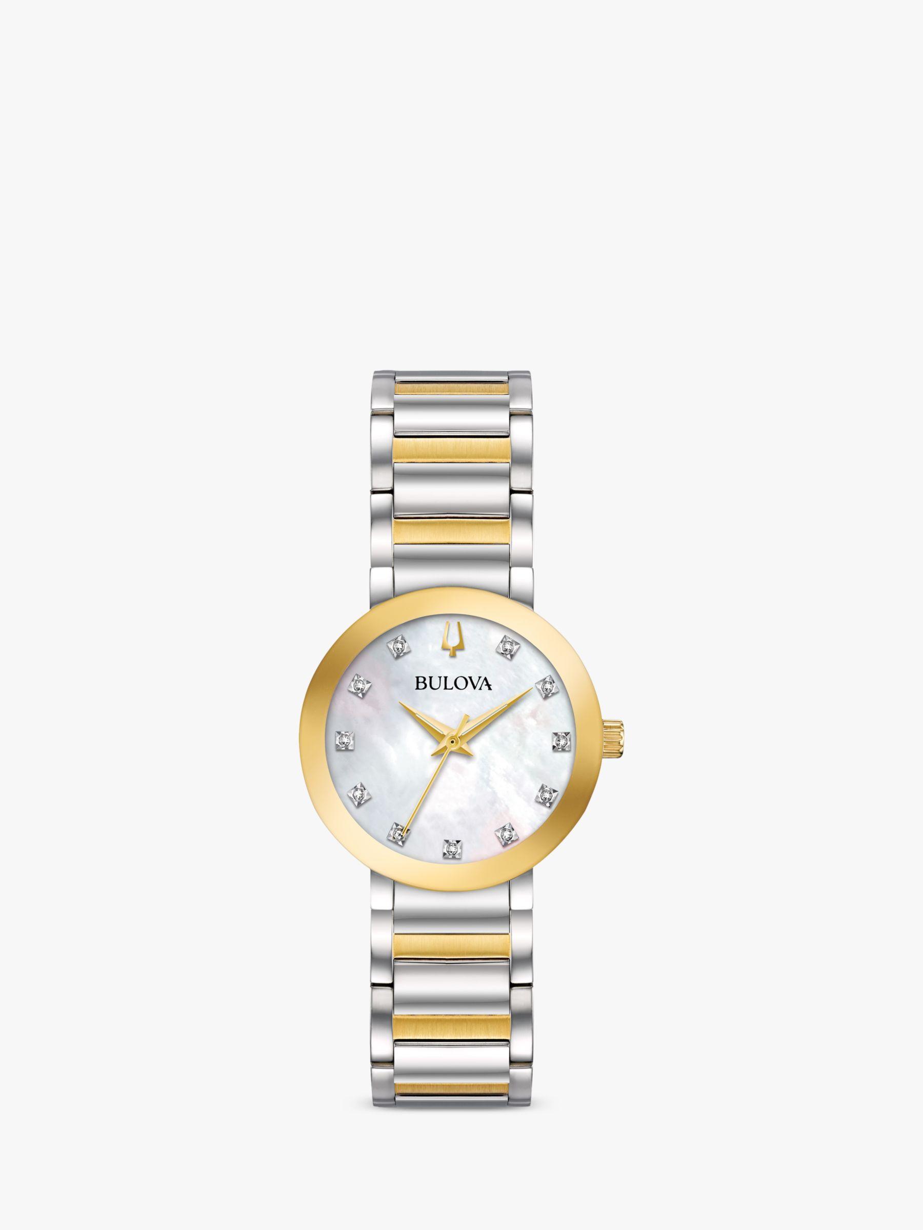 Bulova Bulova 98P180 Women's Modern Diamond Bracelet Strap Watch, Gold/Silver