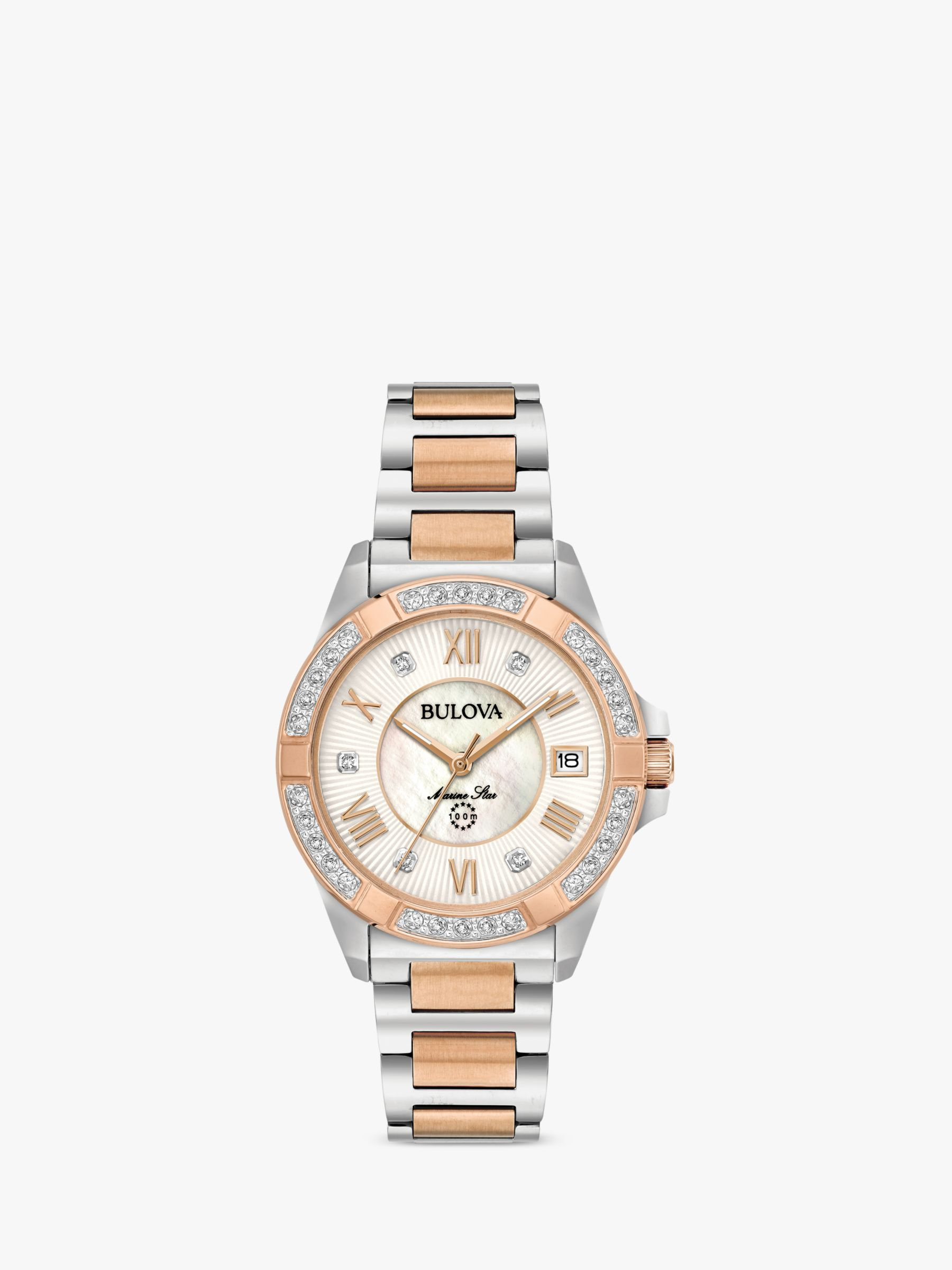 Bulova Bulova 98R234 Women's Marine Star 0.02ct Diamond Date Bracelet Strap Watch, Silver/Rose Gold