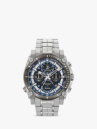 99c6ee11e Bulova 98B316 Men's Precisionist Chronograph Date Bracelet Strap Watch,  Silver/Black