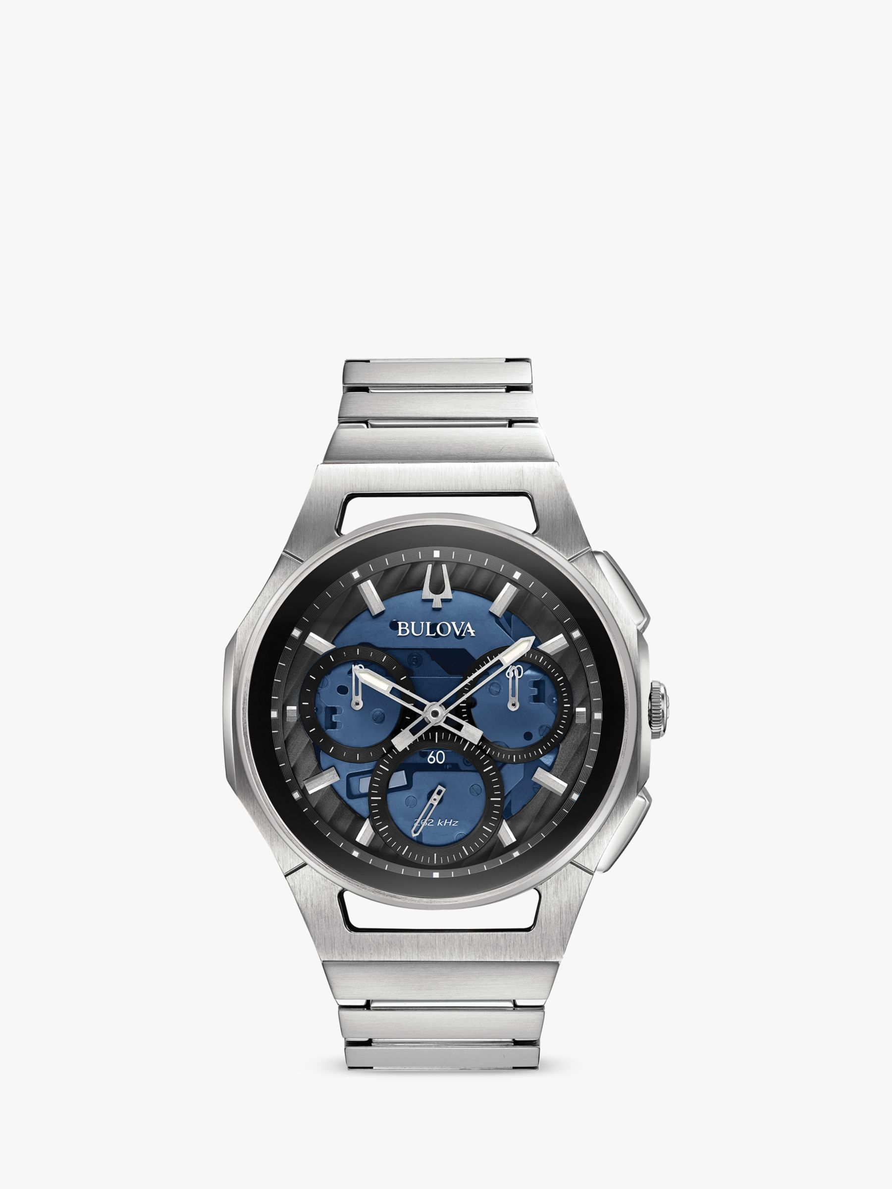 Bulova Bulova 96A205 Men's Curv Chronograph Bracelet Strap Watch, Silver/Blue