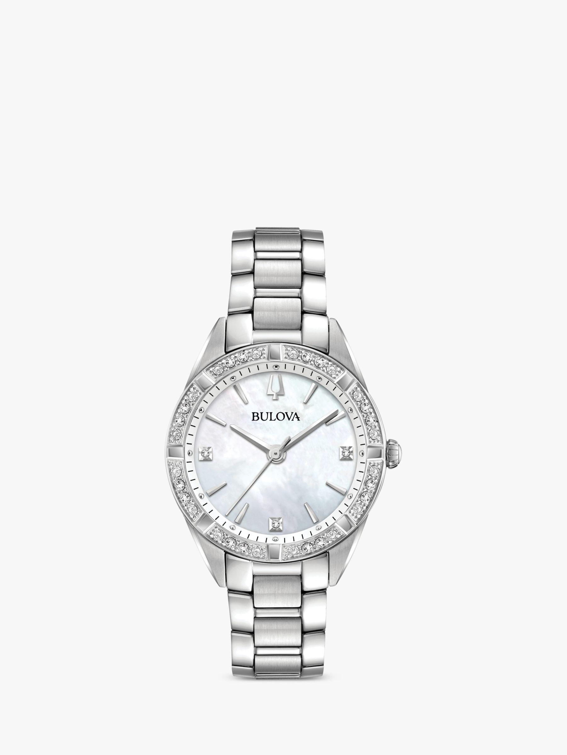 Bulova Bulova 96R228 Women's Sutton Diamond Bracelet Strap Watch, Silver/Mother of Pearl