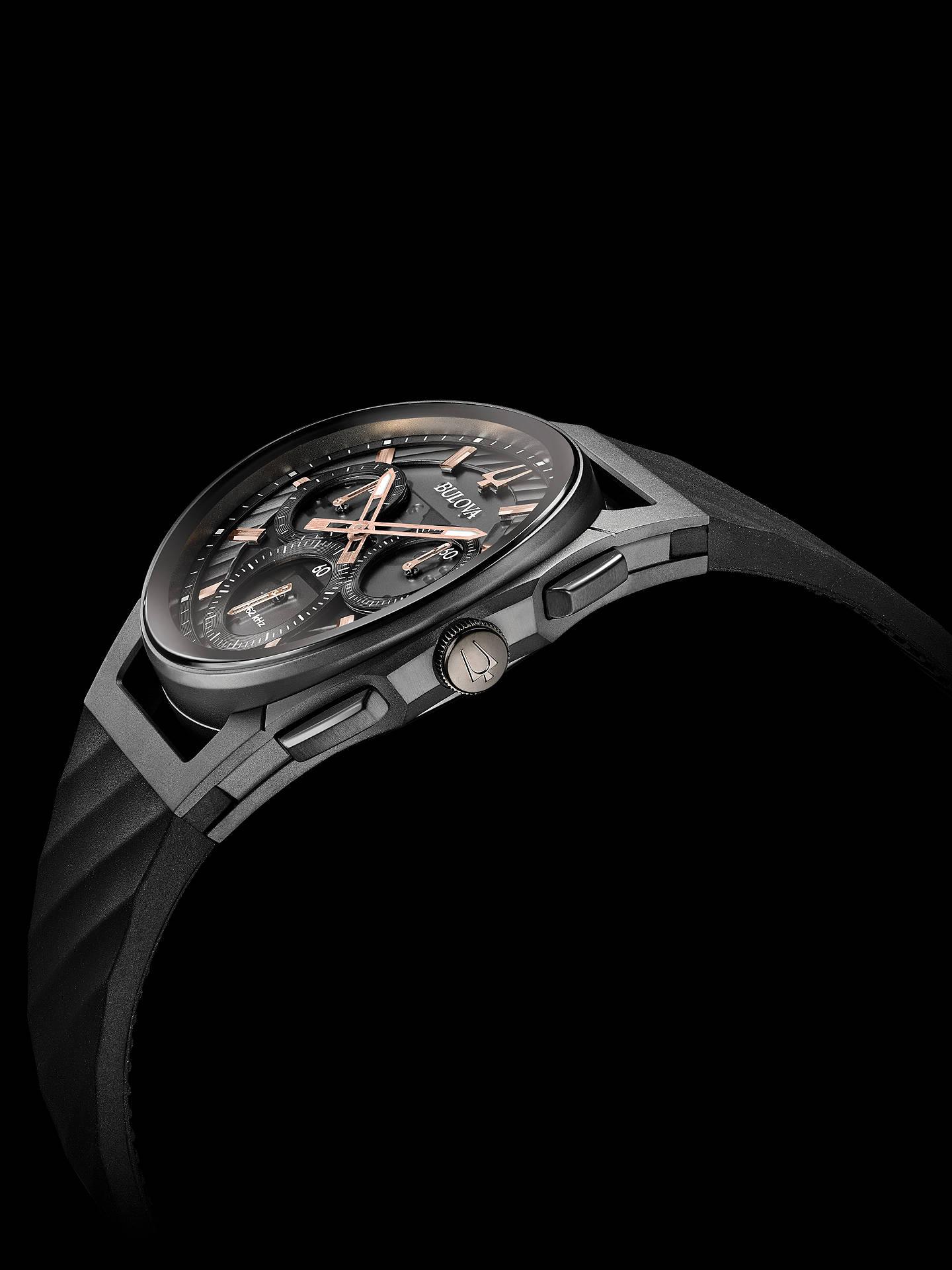 373b5d3d2 ... Buy Bulova Men's Curv Chronograph Rubber Strap Watch, Black/Grey 98A162  Online at johnlewis ...
