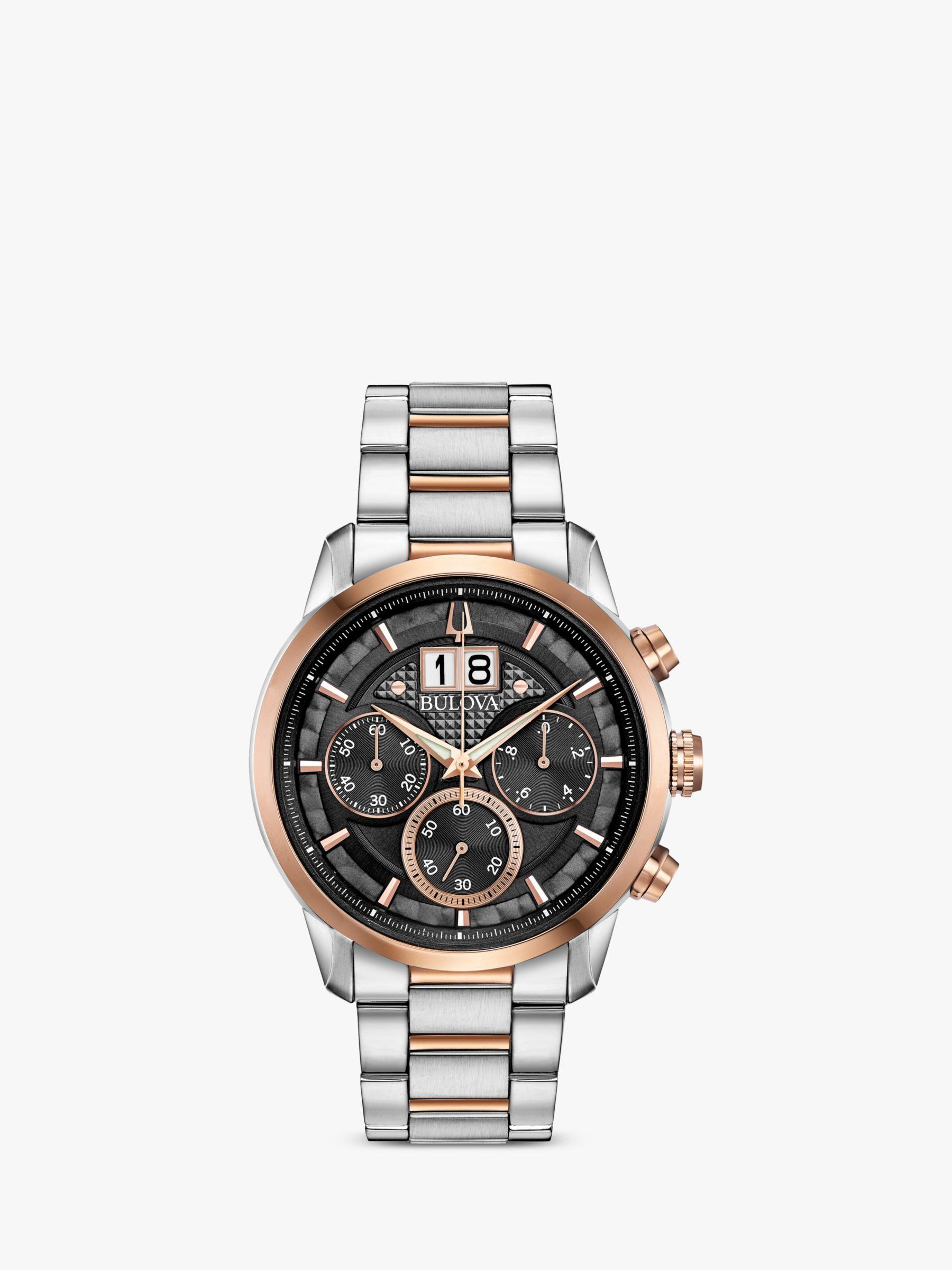 Bulova Bulova 98B335 Men's Sutton Date Chronograph Bracelet Strap Watch, Silver/Rose Gold