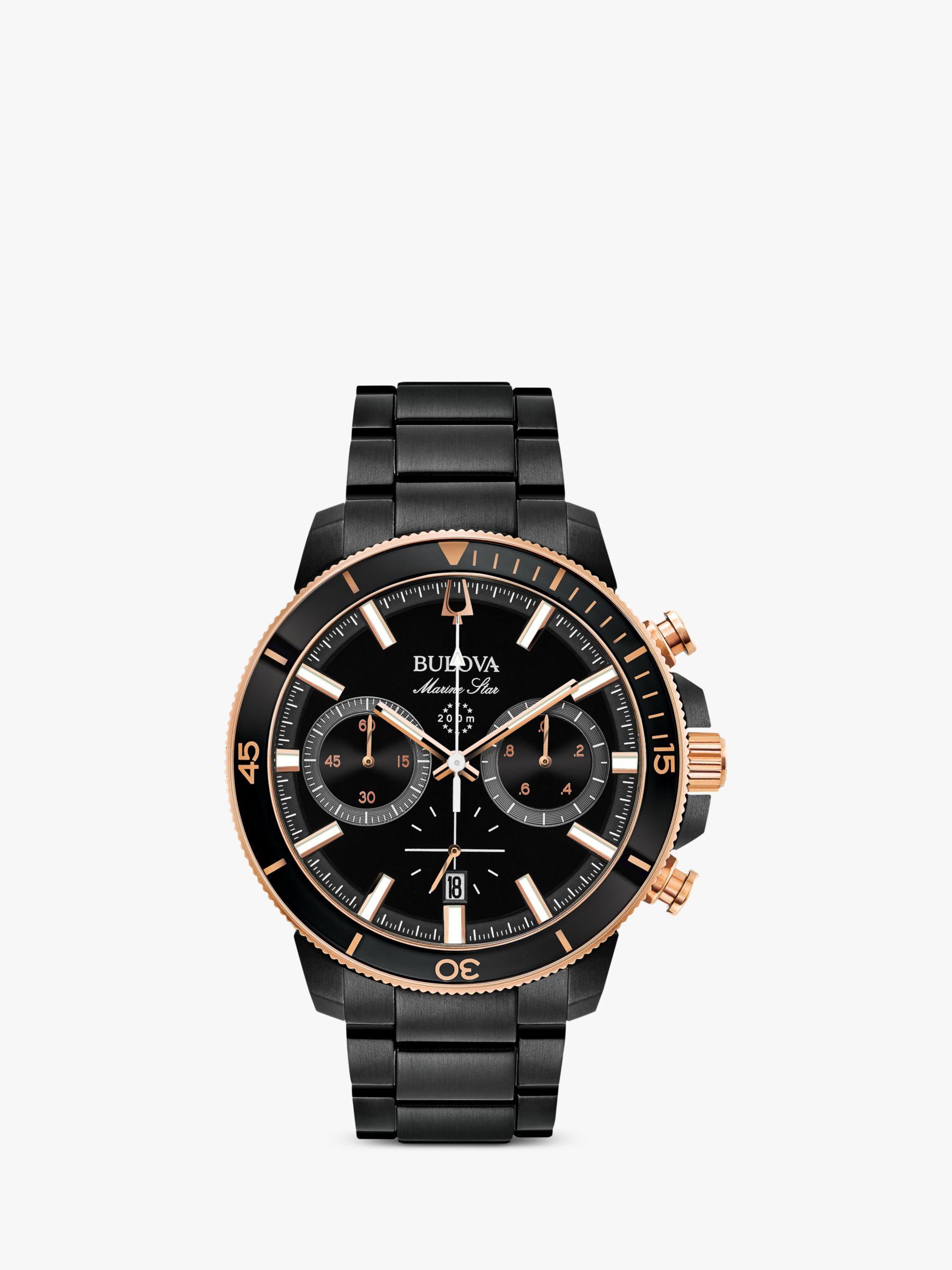 Bulova Bulova 98B302 Men's Marine Star Date Chronograph Bracelet Strap Watch, Black