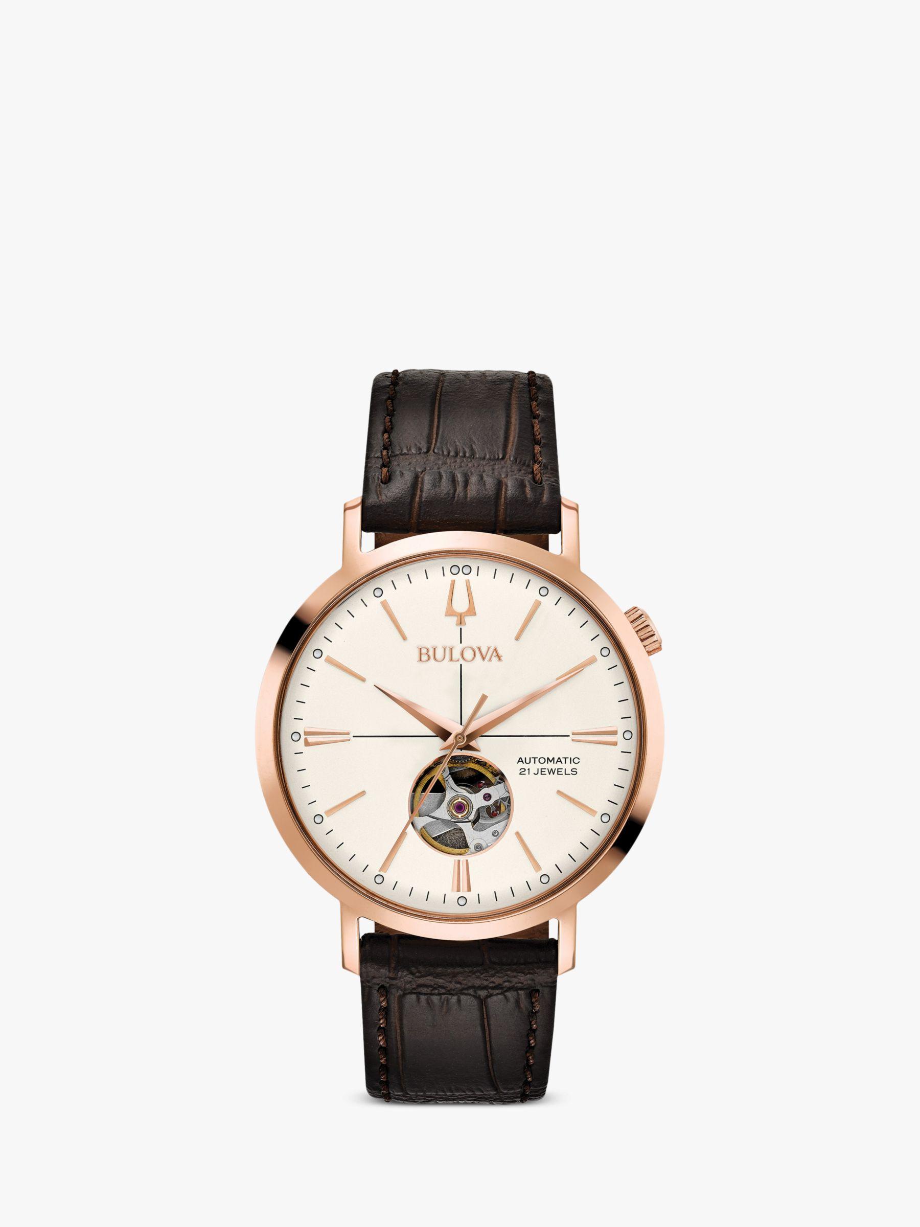 Bulova Bulova Men's Classic Automatic Heartbeat Leather Strap Watch