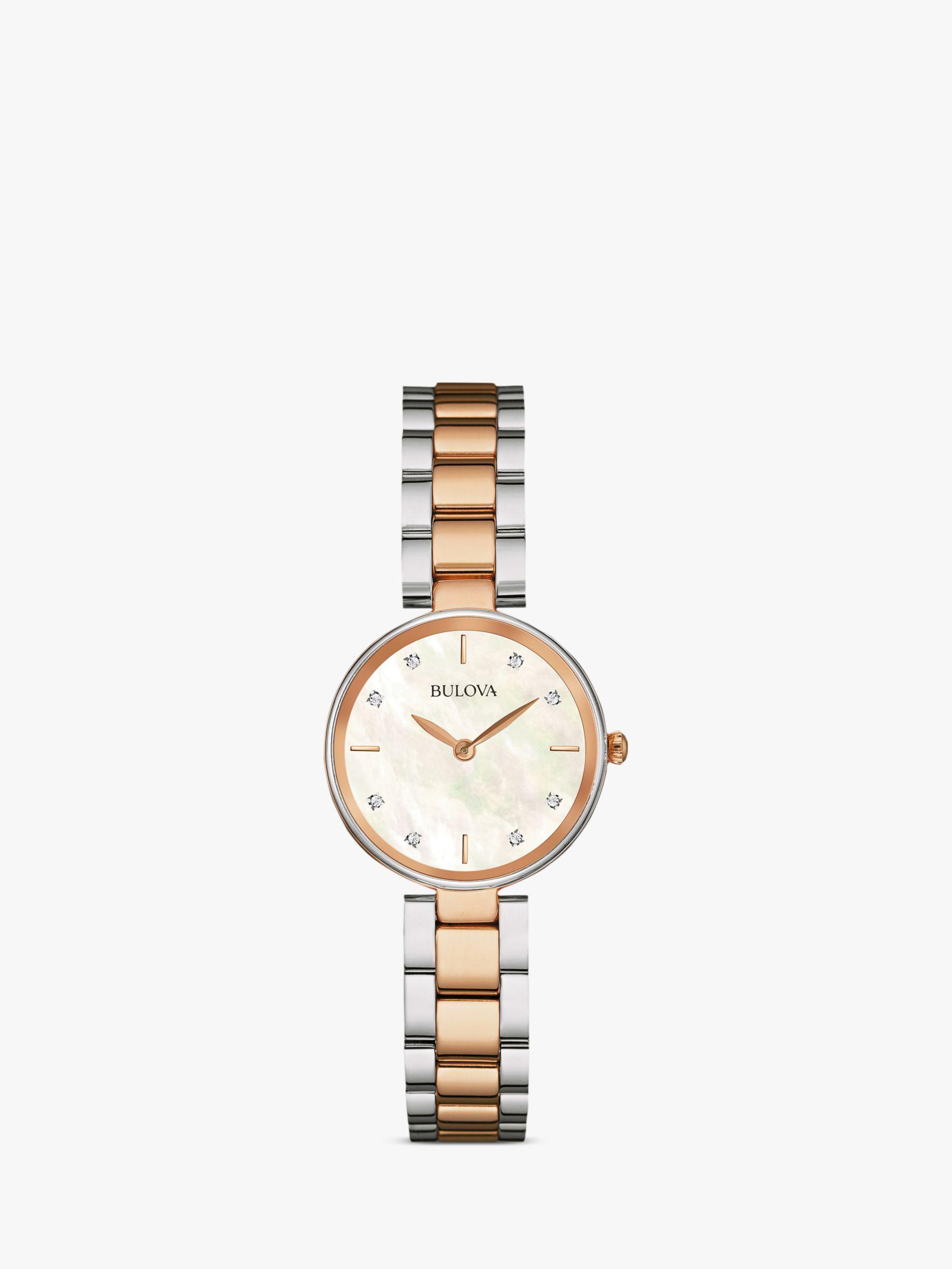 Bulova Bulova 98S147 Women's Diamond Bracelet Strap Watch, Rose Gold/Silver