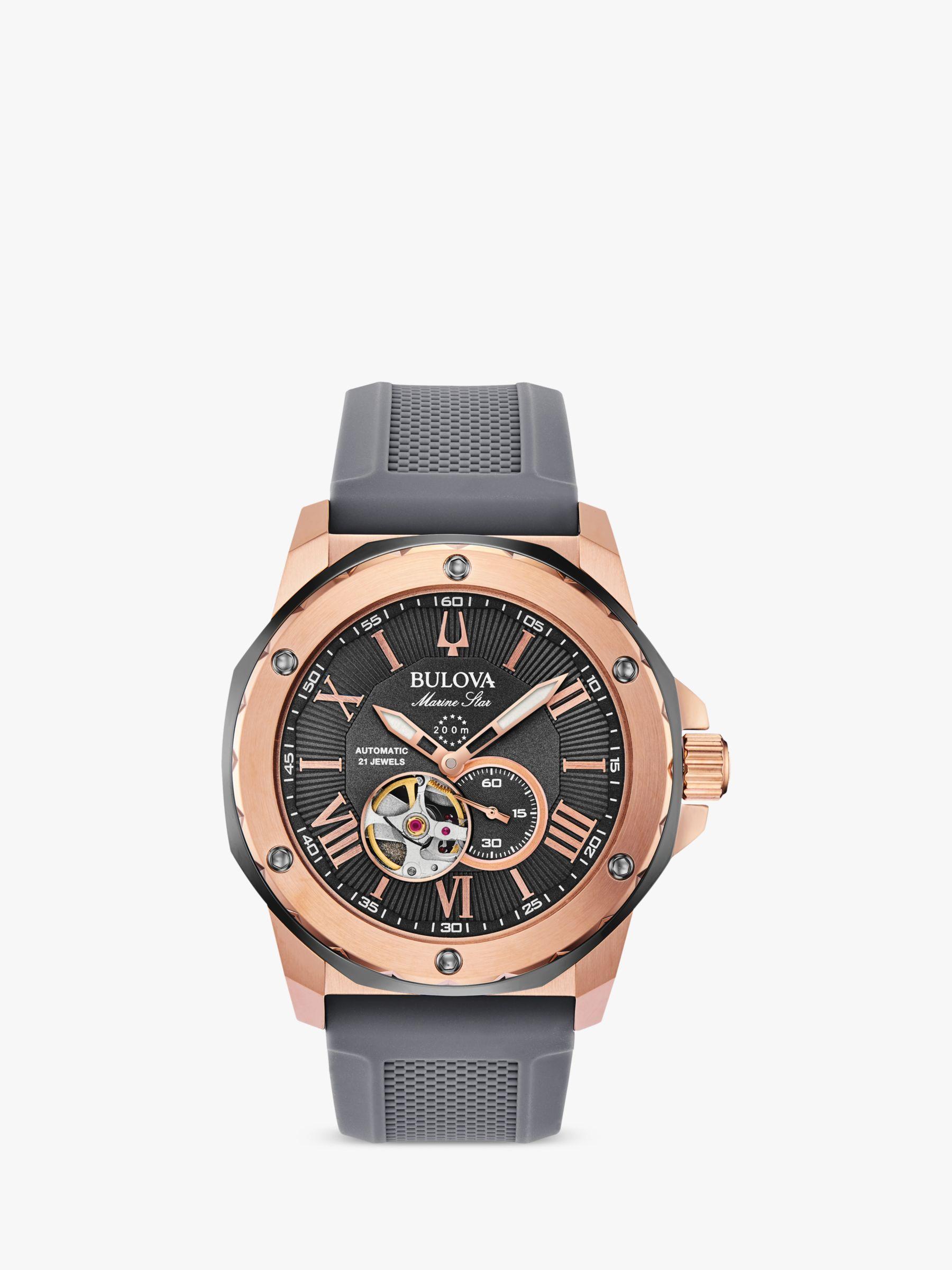 Bulova Bulova Men's Marine Star Heartbeat Automatic Silicone Strap Watch