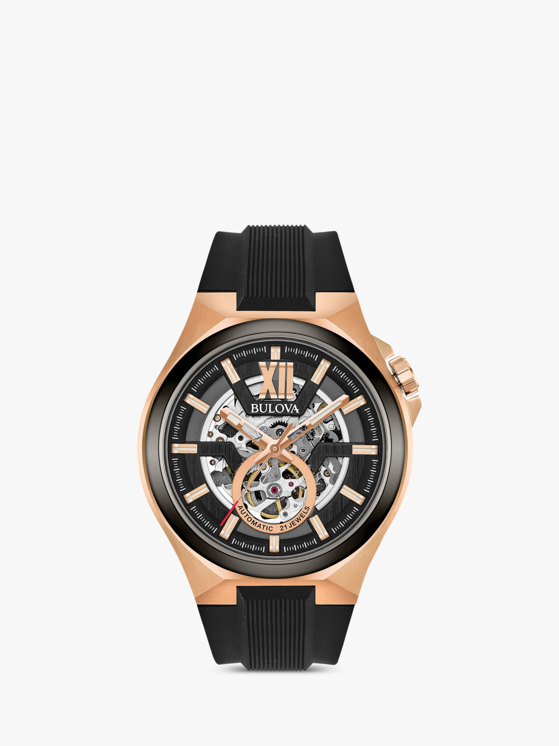 Bulova Bulova 98A177 Men's Automatic Skeleton Rubber Strap Watch, Black