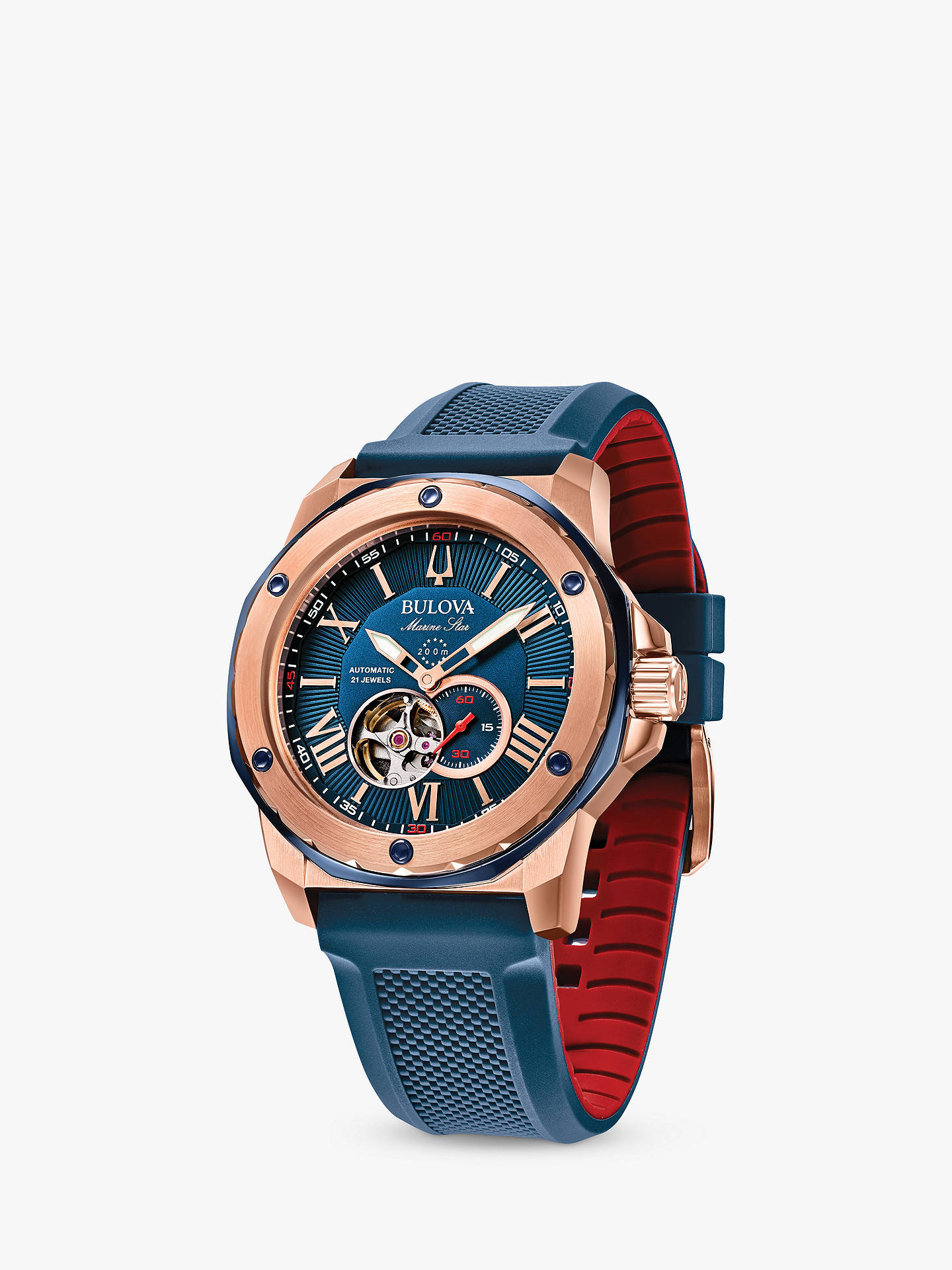 b4b43492647 ... Buy Bulova Men s Marine Star Heartbeat Automatic Silicone Strap Watch