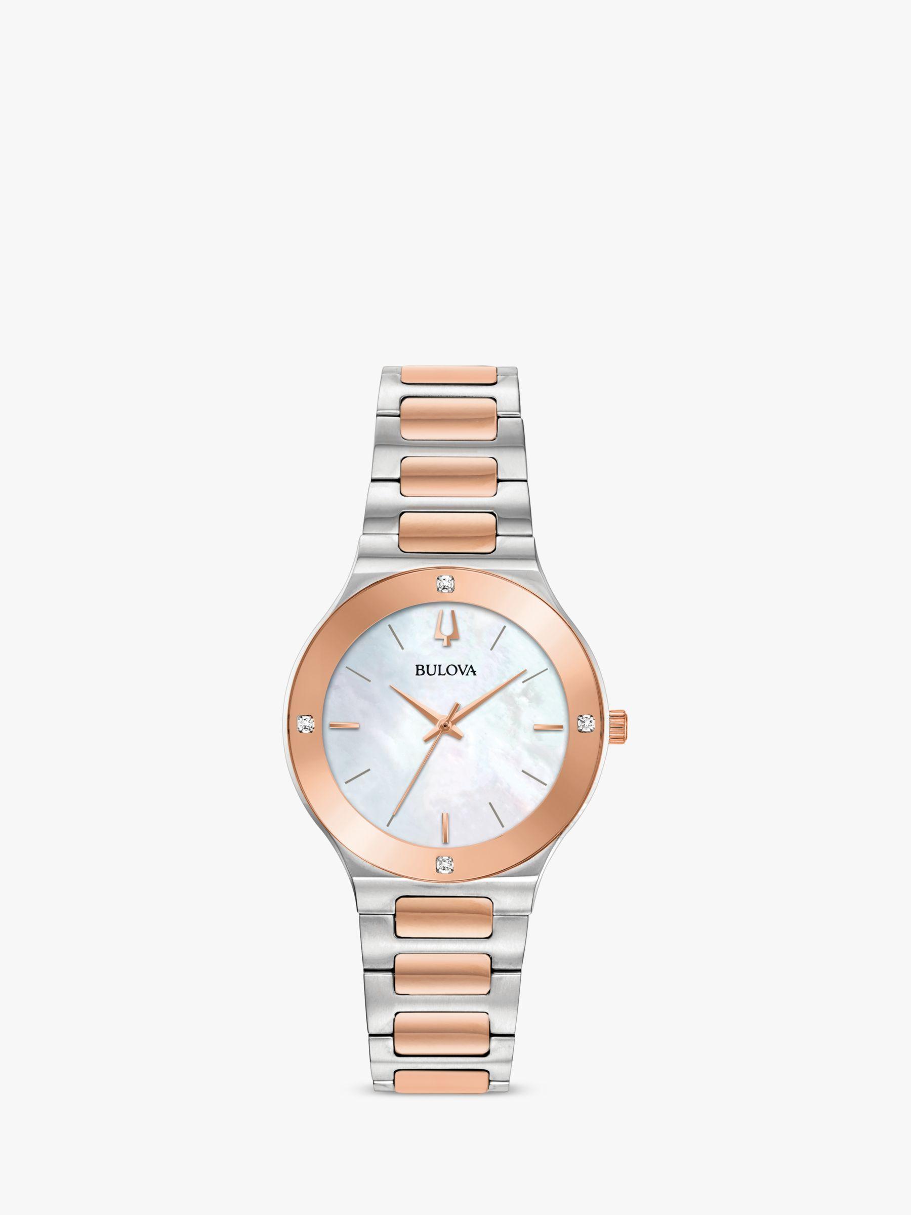 Bulova Bulova 98R274 Women's Modern Diamond Bracelet Strap Watch, Silver/Rose Gold