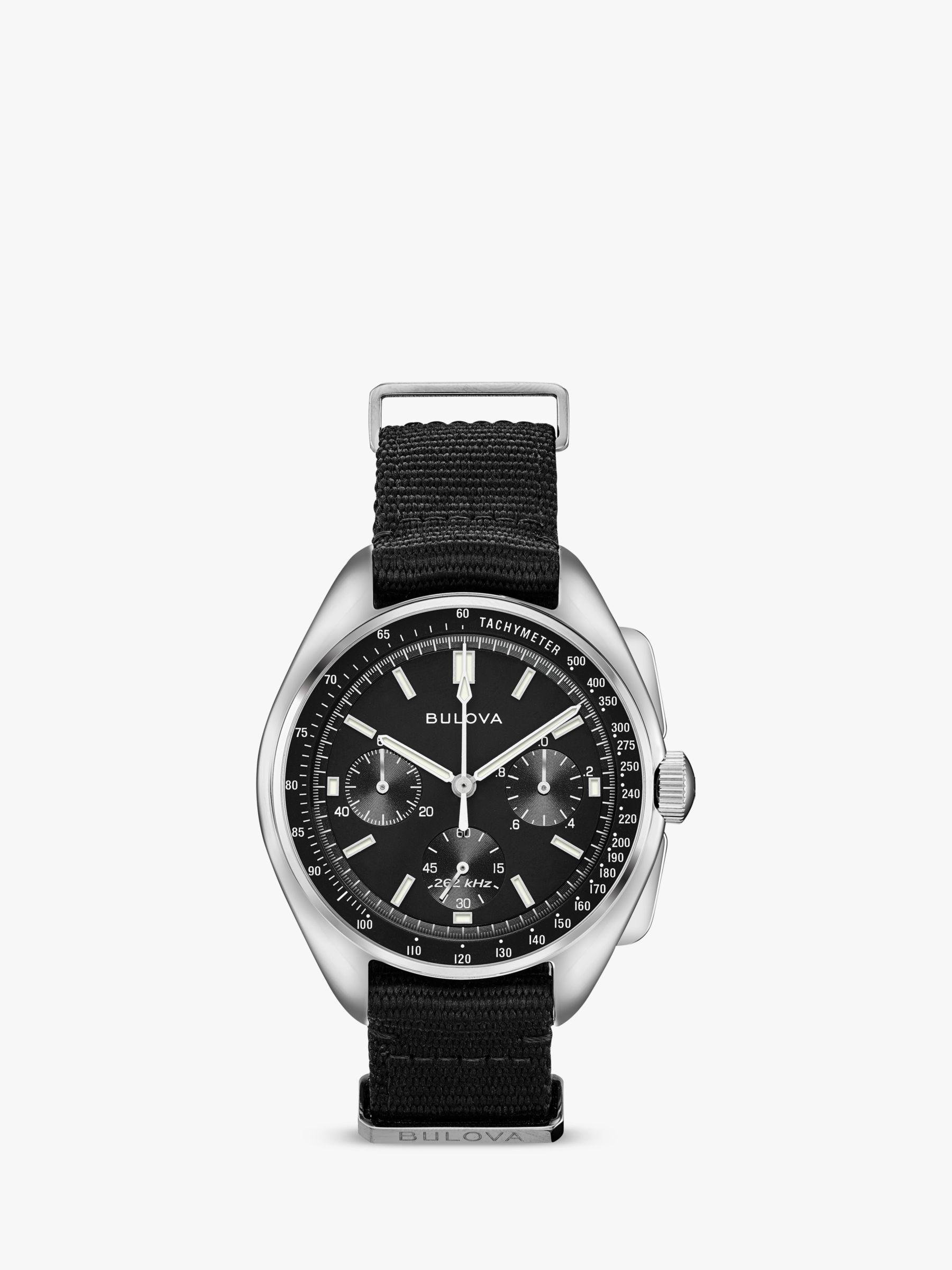 Bulova Bulova 96A225 Men's Archive Lunar Pilot Date Single Chronograph Fabric Strap Watch, Black