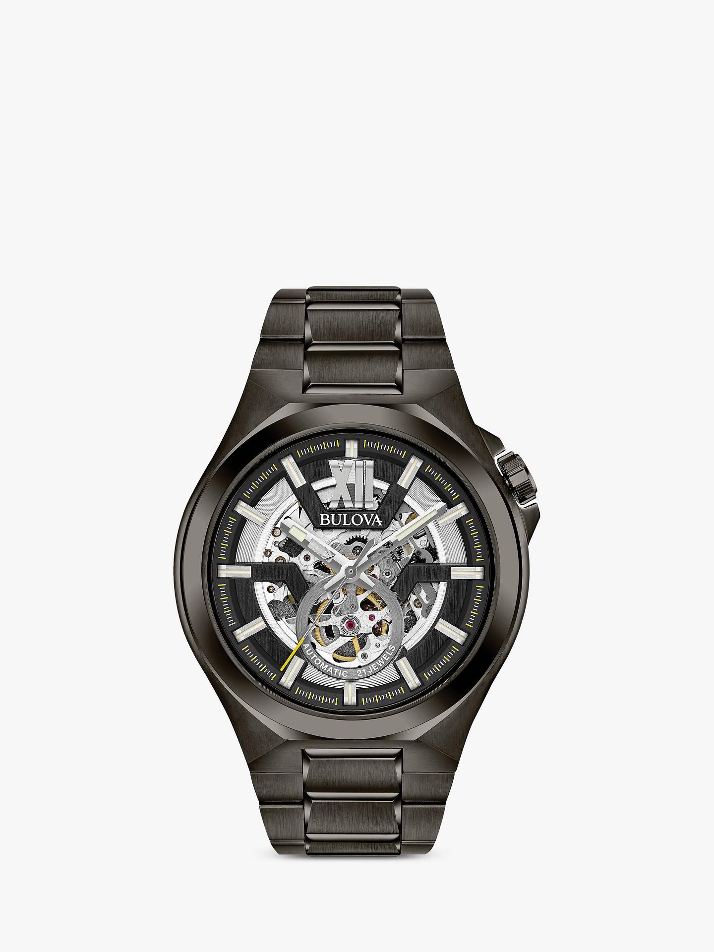 2f06fe1f0 Buy Bulova 98A179 Men's Automatic Skeleton Bracelet Strap Watch, Black  Online at johnlewis. ...