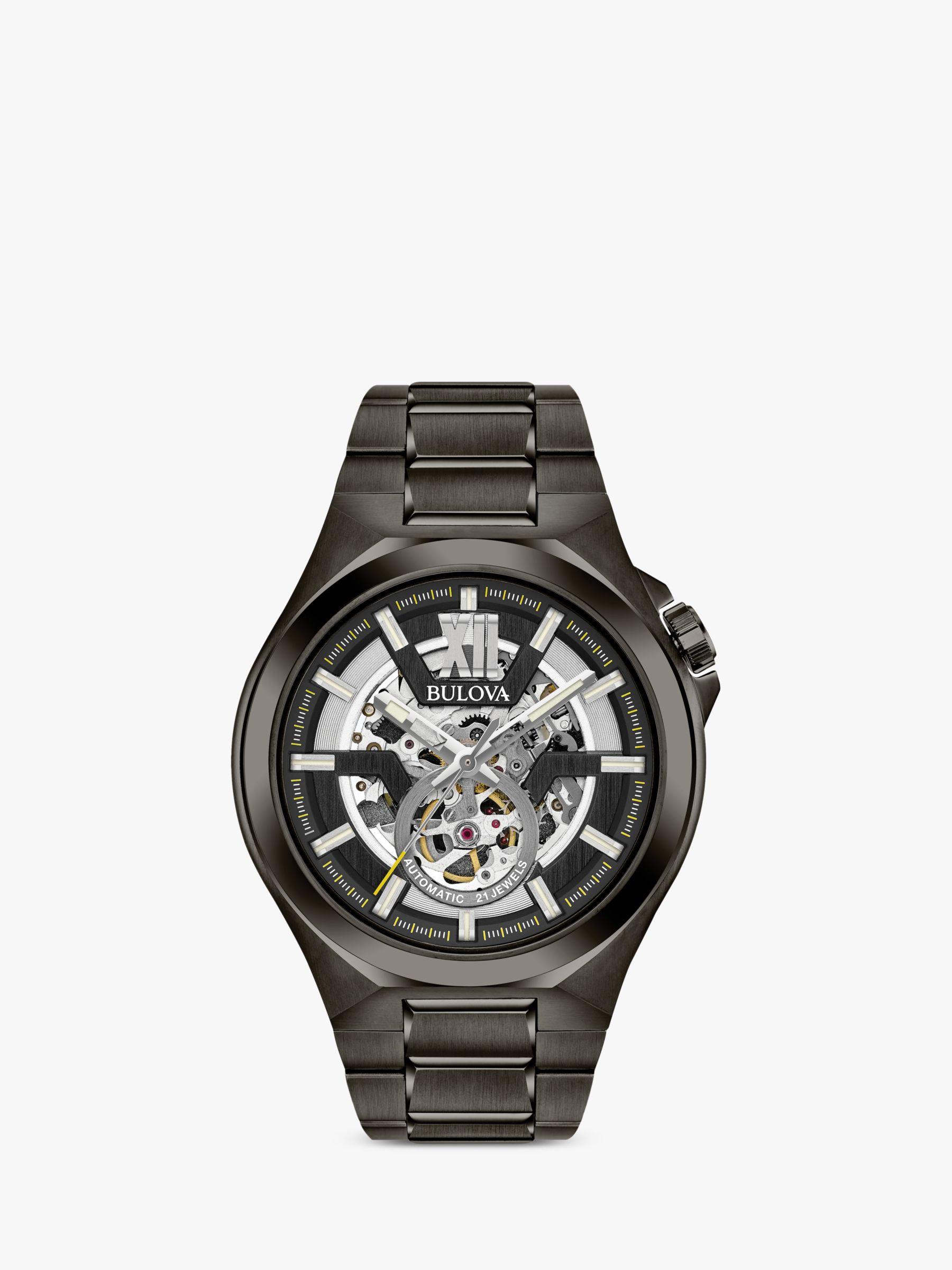 Bulova Bulova 98A179 Men's Automatic Skeleton Bracelet Strap Watch, Black