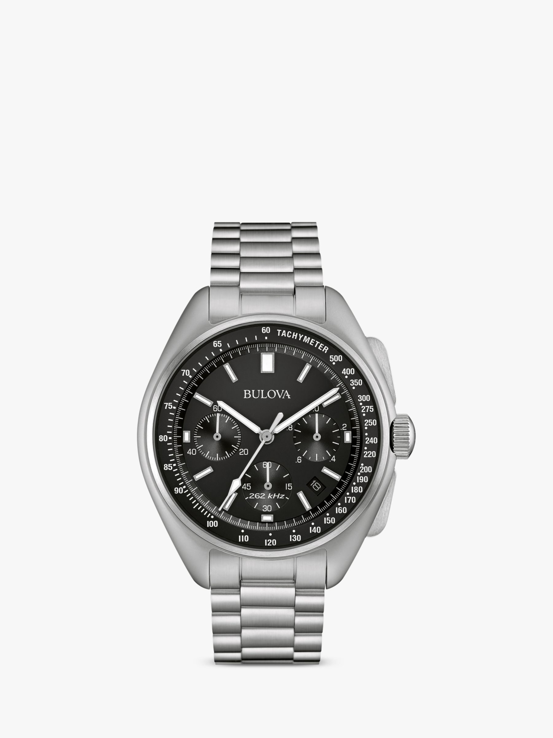 Bulova Bulova 96B258 Men's Archive Lunar Pilot Date Single Chronograph Bracelet Strap Watch, Silver/Black