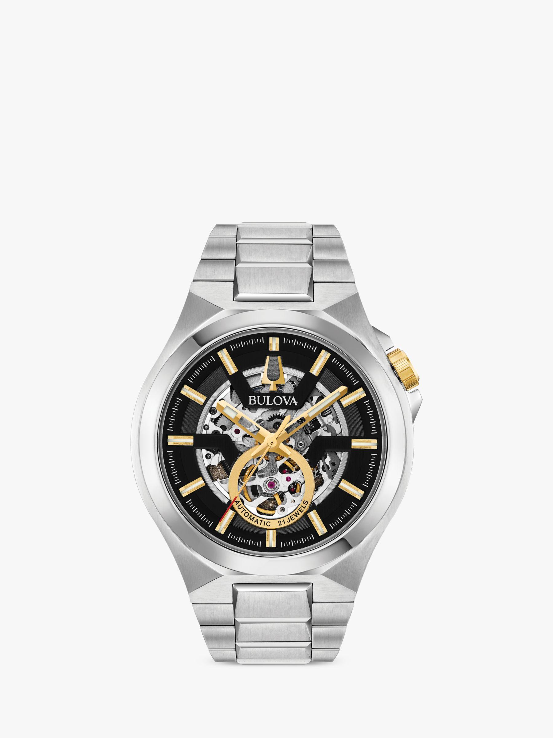 Bulova Bulova 98A224 Men's Maquina Skeleton Automatic Bracelet Strap Watch, Silver/Black