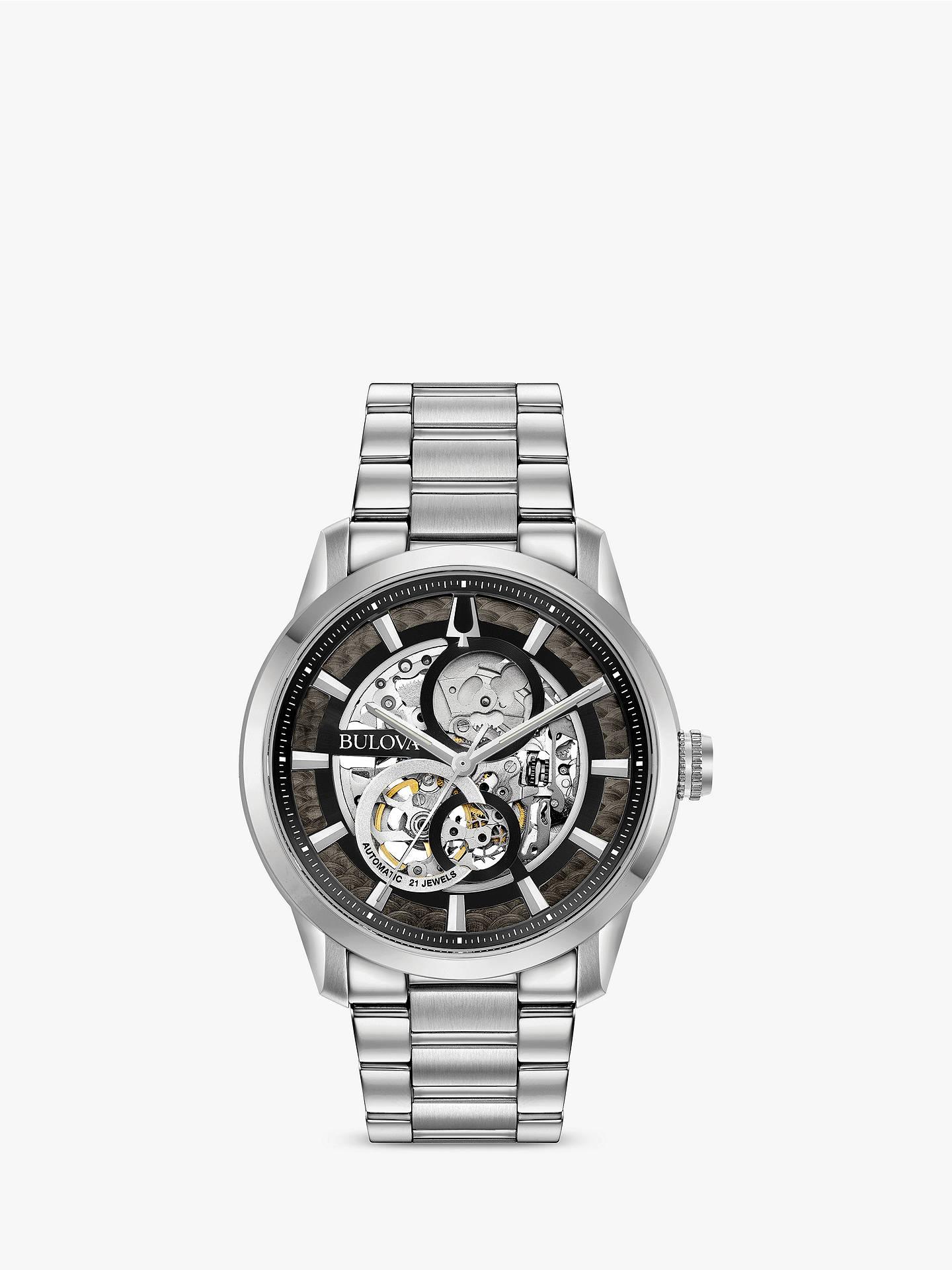 c9c9ba9ad Buy Bulova 96A208 Men's Sutton Skeleton Automatic Bracelet Strap Watch,  Silver/Black Online at ...