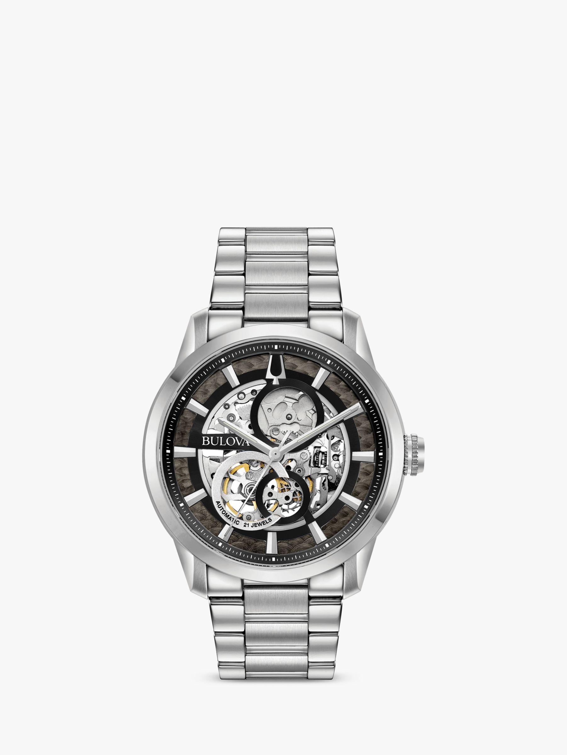 Bulova Bulova 96A208 Men's Sutton Skeleton Automatic Bracelet Strap Watch, Silver/Black