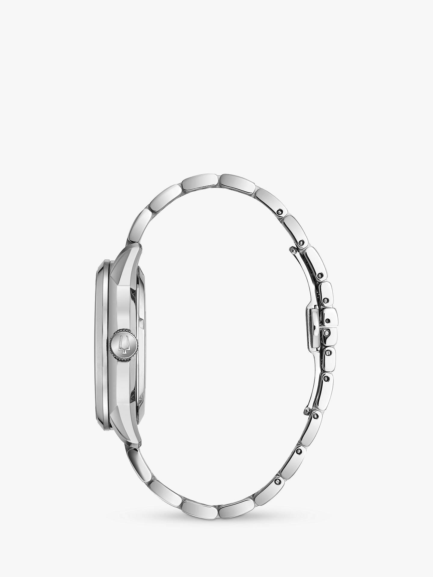 66fb6f010 ... Buy Bulova 96A208 Men's Sutton Skeleton Automatic Bracelet Strap Watch,  Silver/Black Online at ...