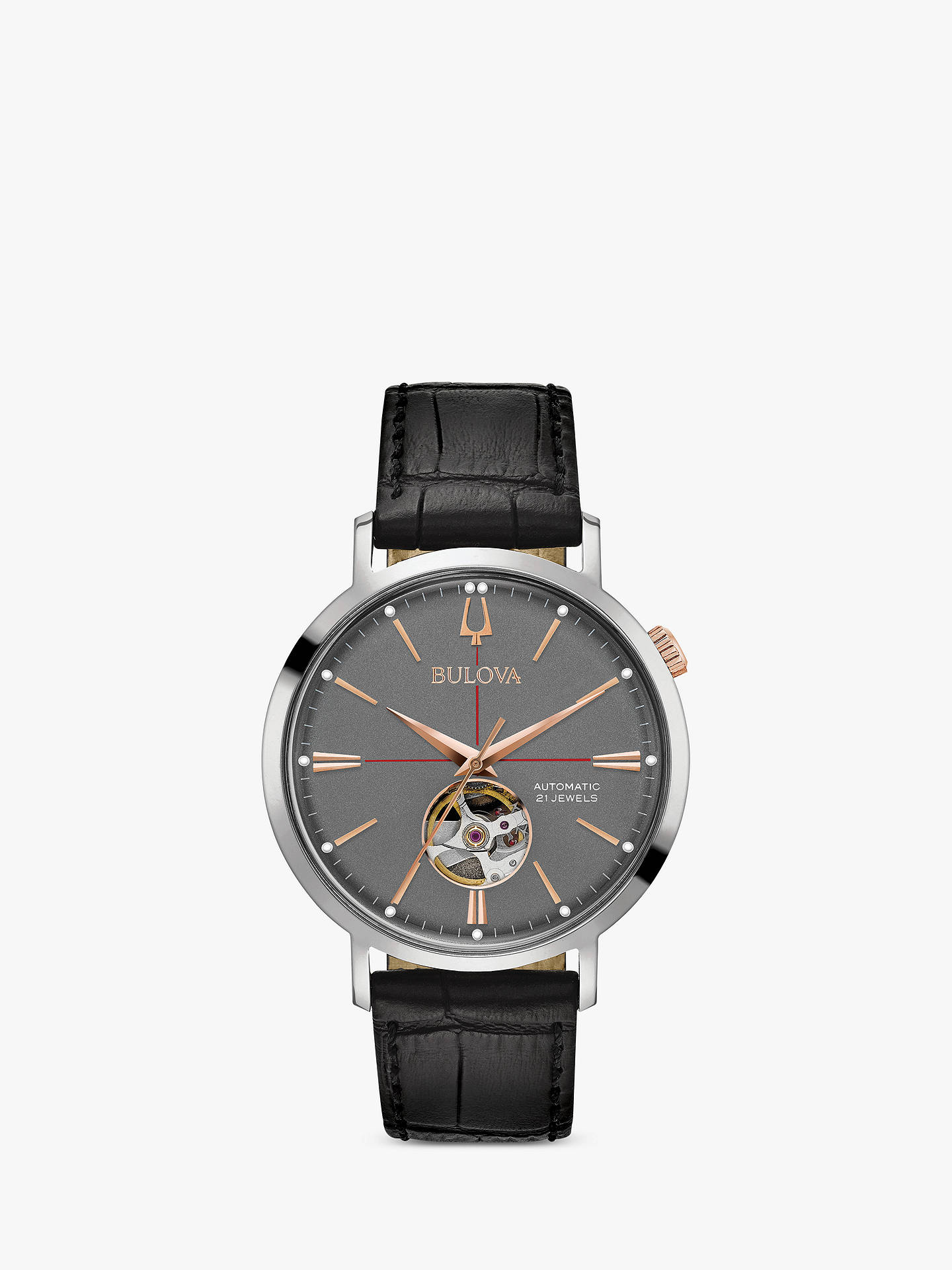 44415ccc1 Buy Bulova Men's Classic Automatic Heartbeat Leather Strap Watch,  Black/Grey 98A187 Online at ...