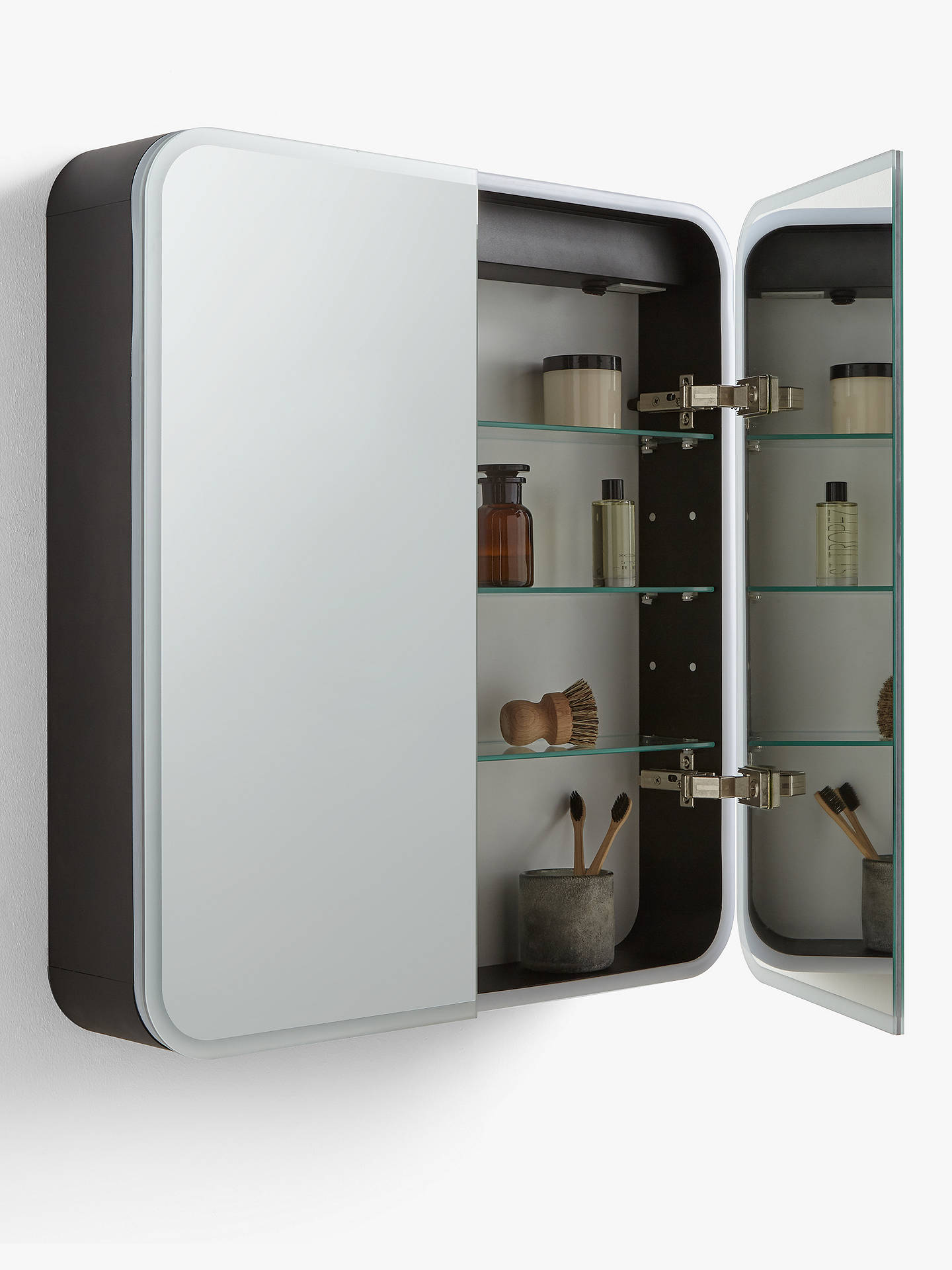 John Lewis Partners Rounded Edge Double Mirrored And Illuminated Bathroom Cabinet At John Lewis Partners