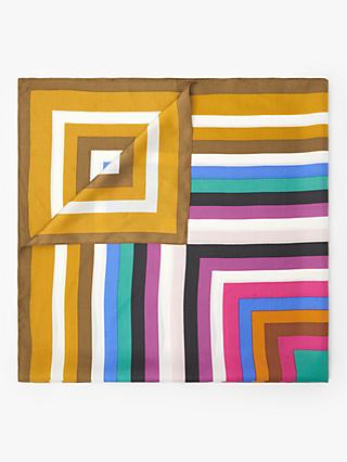 John Lewis & Partners Labyrinth Stripe Square Silk Scarf, Sunflower/Multi