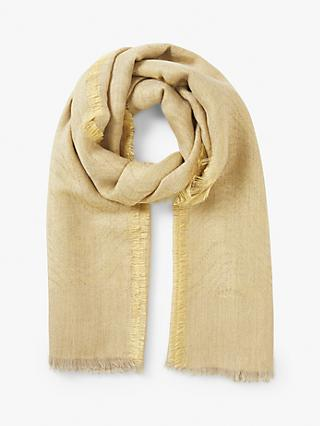 Modern Rarity Undulating Waves Wool and Silk Scarf, Gold