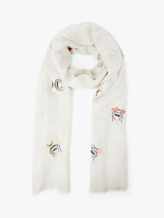 Collection WEEKEND by John Lewis Bee Embroidery Wool Scarf, Pale Grey/Multi