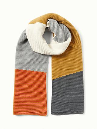 John Lewis & Partners Cotton Colour Block Scarf, Orange Mix