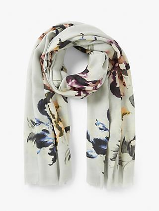 Modern Rarity Wool and Silk Contrast Floral Scarf, Grey/Multi