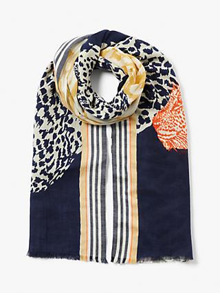 Collection WEEKEND by John Lewis Safari Cats Scarf, Navy Mix