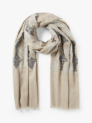 Modern Rarity Wool and Silk Contrast Embroidery Scarf, Grey Mix