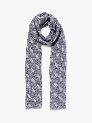 John Lewis & Partners Spiced Petals Print Scarf, Navy/White