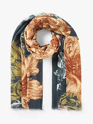 Modern Rarity Wool and Silk Etched Bloom Scarf, Blue Mix