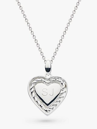 Kit Heath Personalised Sterling Silver Twist Heart Pendant Necklace, Silver