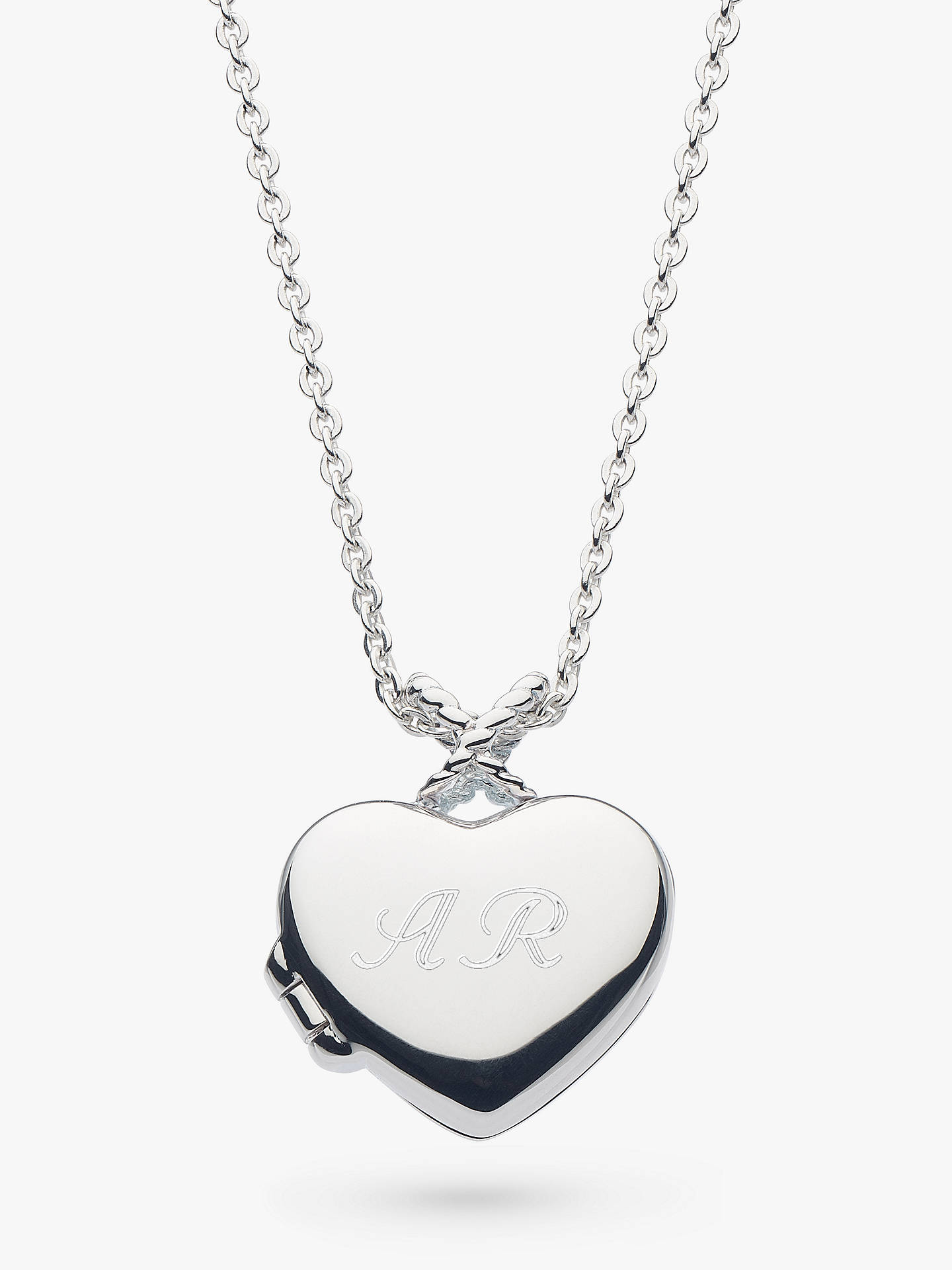 398f0aa98c9 Buy Kit Heath Personalised Sterling Silver Heart Locket Pendant Necklace,  Silver Online at johnlewis.