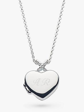 Kit Heath Personalised Sterling Silver Heart Locket Pendant Necklace, Silver
