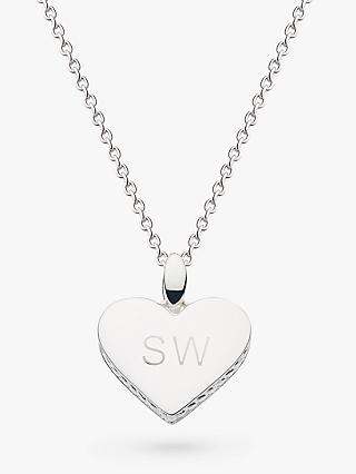 Kit Heath Personalised Sterling Silver Side Twist Heart Pendant Necklace, Silver