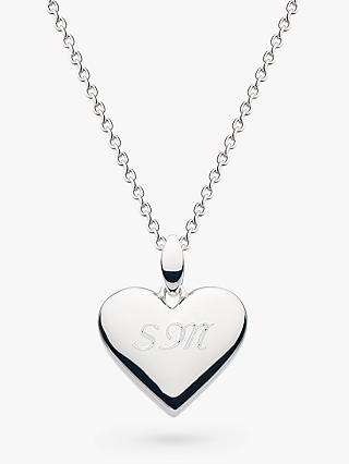 Kit Heath Personalised Sterling Silver Heart Pendant Necklace, Silver