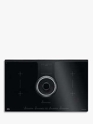 AEG IDK84451IB 83cm ComboHob Electric Induction Hob and Integrated Hood, Black