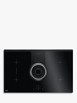 AEG IDE84241IB 83cm ComboHob Electric Induction Hob and Integrated Hood, Black
